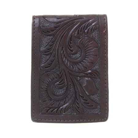 Western Fashion Accessories Mens Chocolate Floral Tooled Money Clip  Brown Western Fashion Accessories Chocolate Brown Floral Tooled Money Clip IF 3