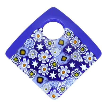 GlassOfVenice Murano Glass Curved Square Millefiori Pendant - Cobalt (Curved Murano Glass)