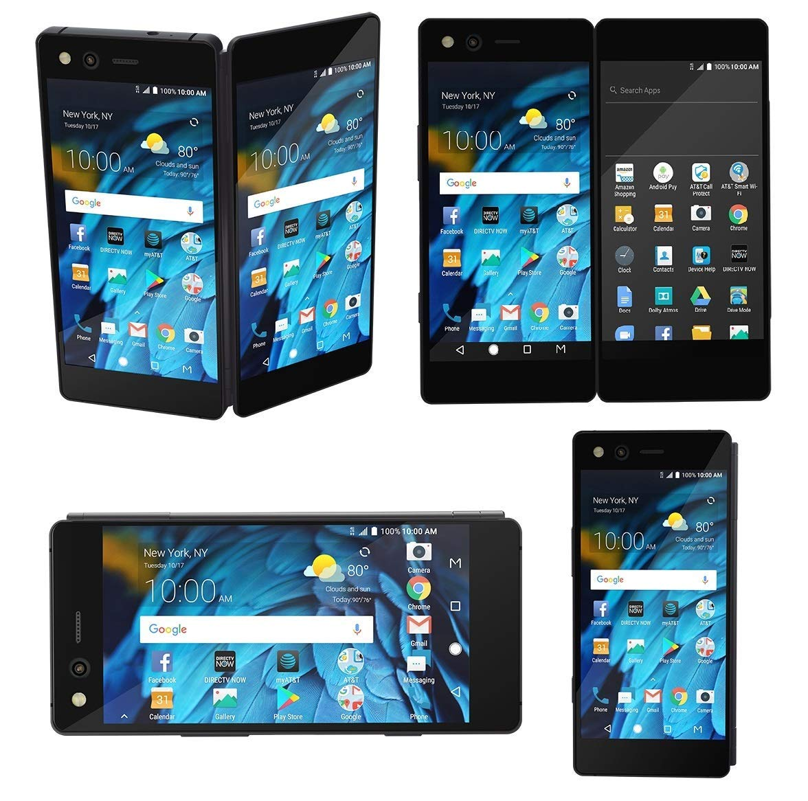 Axon M ZTE Z999 64GB AT&T GSM Unlocked Dual Screen Smartphone - Carbon Black (Certified Pre-Owned )