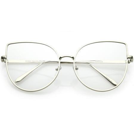 71614a3bea7 sunglassLA - Women s Oversize Metal Cat Eye Glasses Slim Arms Flat Lens  59mm (Shiny Silver   Clear) - Walmart.com