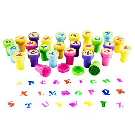 Assorted Mini Colorful Rubber Alphabet Letter Stamps for Children, Party Favor Gifts, Arts & Crafts Projects (26 Pieces) by Super Z Outlet for $<!---->