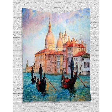 Venice Tapestry, Watercolor Painting of Venice Serene Cityscape Antique Gondolas Scenic, Wall Hanging for Bedroom Living Room Dorm Decor, Peach Pale Blue Red, by Ambesonne