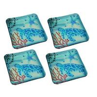 Set of 4 Coastal Blue Sea Turtle Square Art Glass Salad Plates