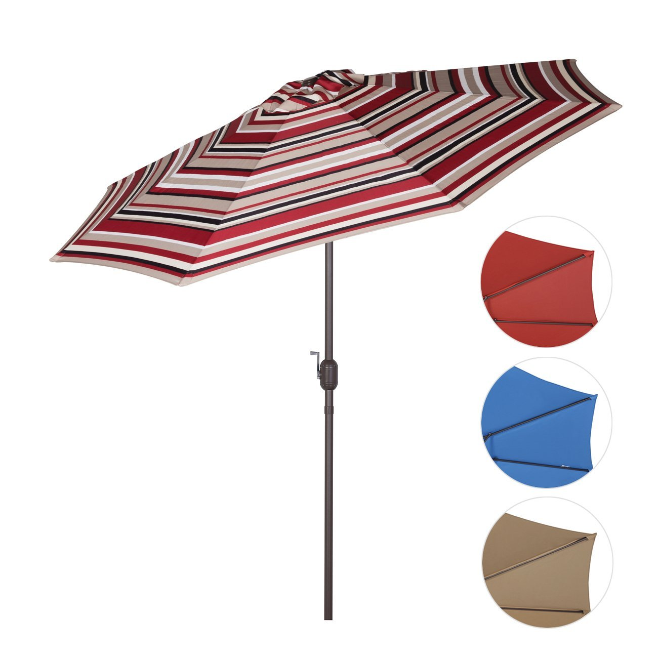 Sekey 9ft Outdoor Umbrella Red Stripes,Patio Umbrella Red Stripes Market  Umbrella Red Stripes With