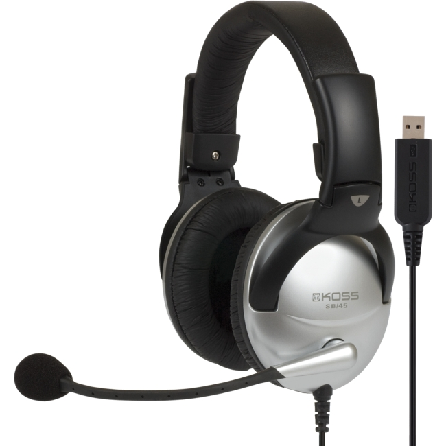 Koss SB45 USB Communication Headsets - Stereo - USB - Wired - 100 Ohm - 18 Hz - 20 kHz - Over-the-head - Binaural - Circumaural - 8 ft Cable - Noise Reduction Microphone