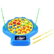 Deep Sea Shell Fishing Game for Children Battery Operated Rotating Novelty Toy Fishing Game Play Set w/ 21 Fishes, 4 Fishing Rods, Lights, Music (Blue)