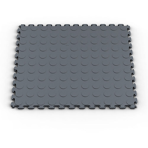 Norsk NSMPRC6DG Raised Coin Pattern PVC Floor Tiles, 13.95-Square Feet, Dove Gray, 6-Pack