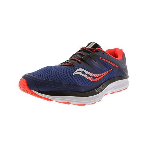 blue running shoes : Saucony Men's Guide Iso Blue / Grey Vizi Red Ankle-High Fabric Running Shoe - 10.5M