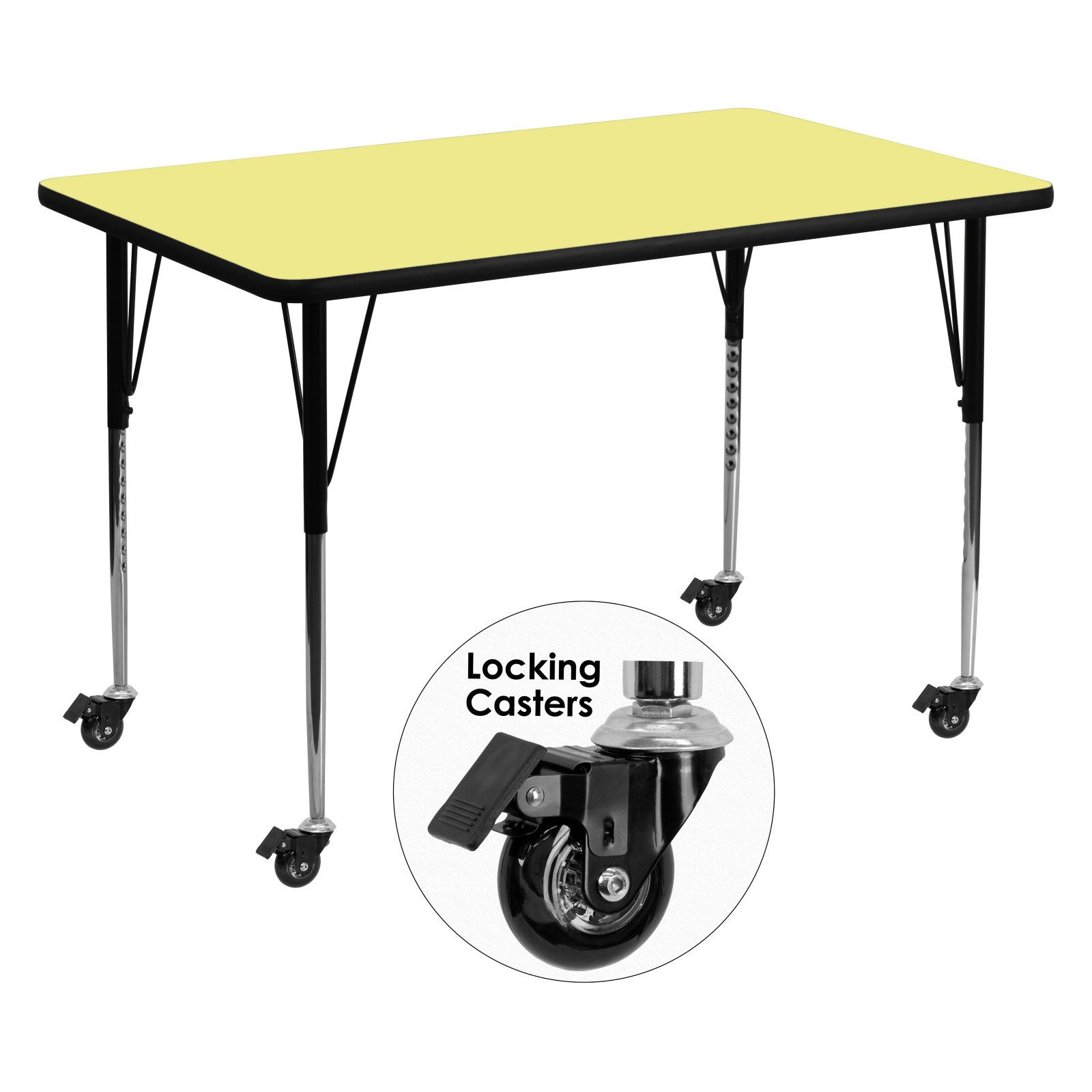 Flash Furniture Mobile 36''W x 72''L Rectangular Activity Table with Yellow Thermal Fused Laminate Top and Standard Height Adjustable Legs