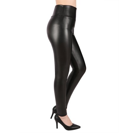 HDE Sexy Faux Leather Leggings High Waisted Tight Pants for Women