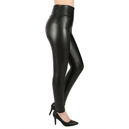 HDE Sexy Faux Leather Leggings High Waisted Tight Pants for Women - Halloween Leather Pants
