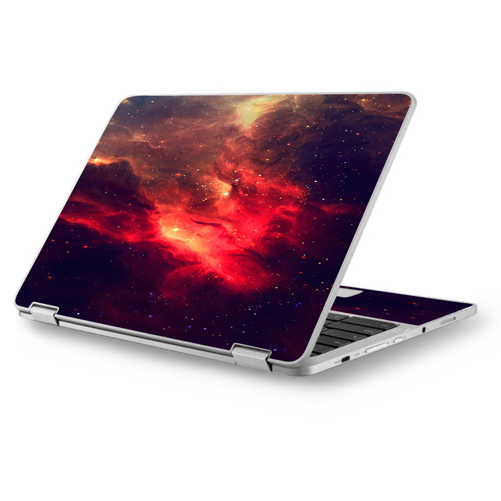 "Skins Decals for Asus Chromebook 12.5"" Flip C302CA Laptop Vinyl Wrap / Space Clouds Galaxy"