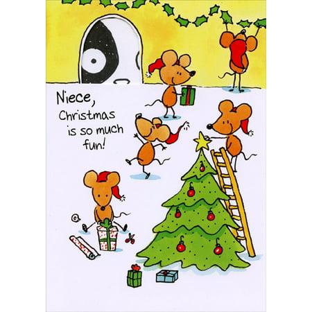 Freedom Greetings Mice Decorating Tree: Niece Christmas Card (Grandma Moses Christmas Cards)