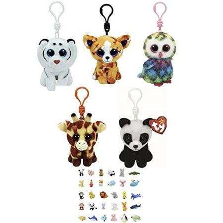 Stuffed Animals Beanie Boos Clips Keychain Plush Toys Bundle Tiger