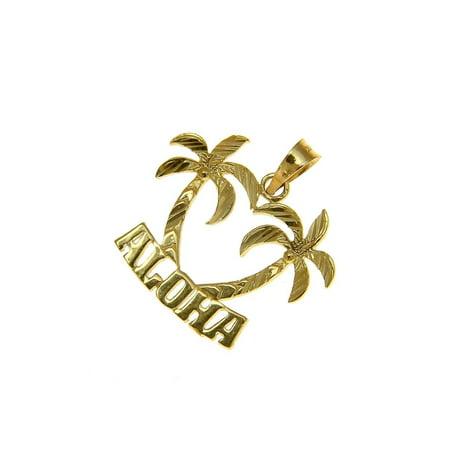 14K solid yellow gold smooth diamond cut Hawaiian palm tree Aloha -