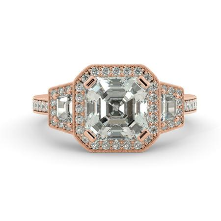 3.35 ct Asscher One Moissanite & Diamond Vintage 3 Stone Engagement Ring 14k Rose Gold