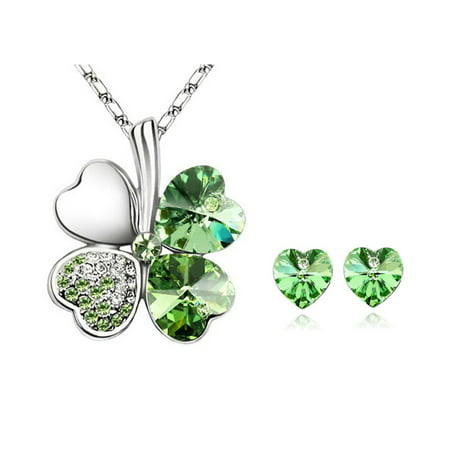 - Wrapables® Lucky Sweethearts Gold Plated Swarovski Elements Crystal Heart Shaped Four Leaf Clover Pendant Necklace and Earrings Jewelry Set, Green