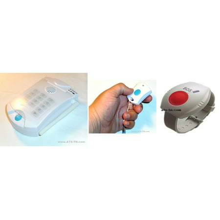 Medical Alert System with Necklace and Wrist Panic Button NO MONTHLY FEES HD700