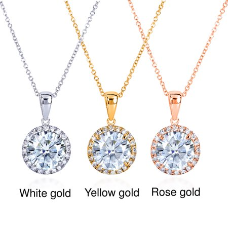 Round Moissanite and Diamond Necklace 2 1/6 CTW 14k Gold 14k Moissanite Necklace