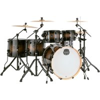 """Mapex Armory Series Exotic Studioease Fast Toms 6-Piece Shell Pack w/ 22"""" Bass Drum & Black Hardware - Black Dawn"""