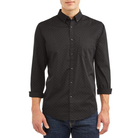 - George Men's Slim Fit Long Sleeve Stretch Printed Poplin Shirt, up to size 5XL