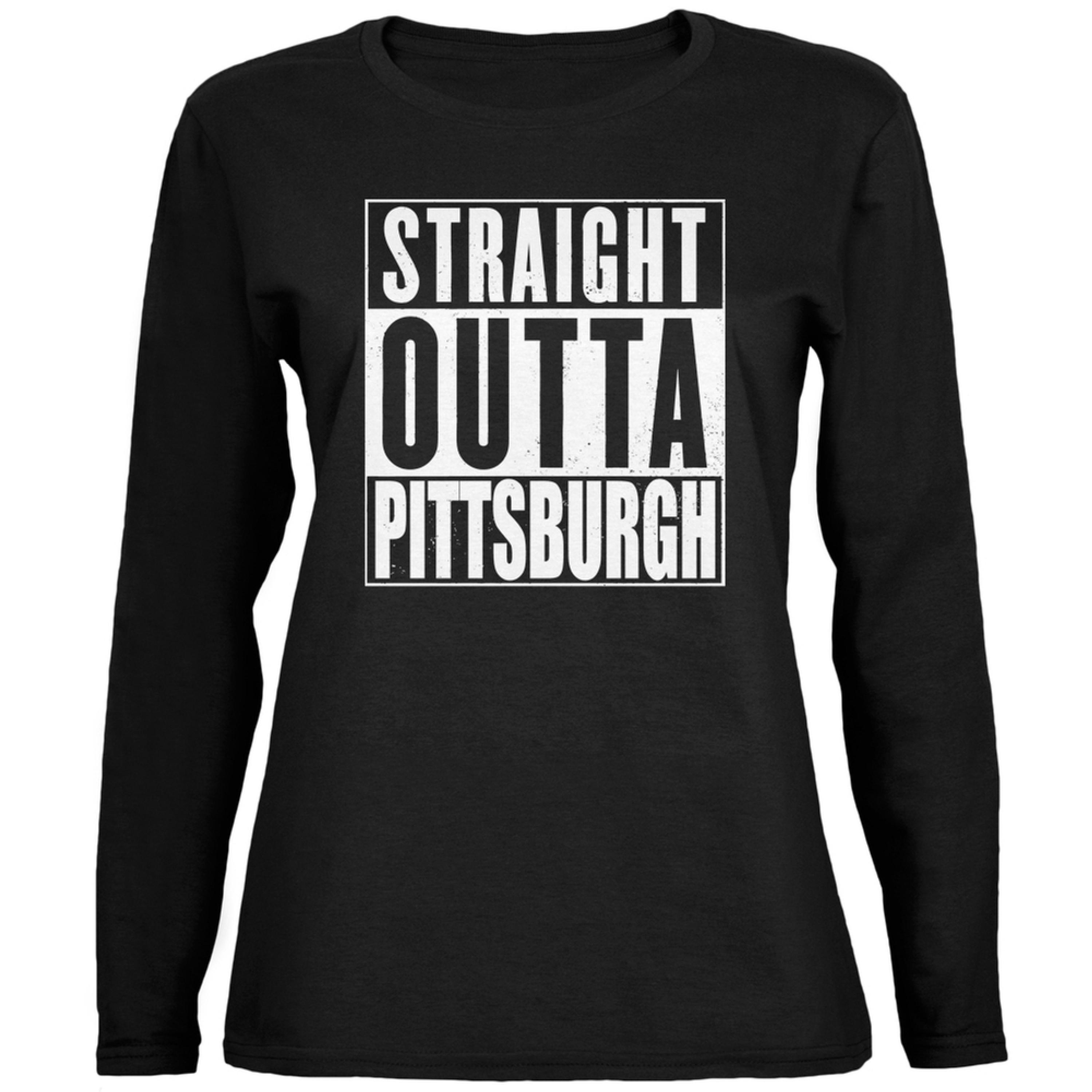 Straight Outta Pittsburgh Black Womens Long Sleeve T-Shirt