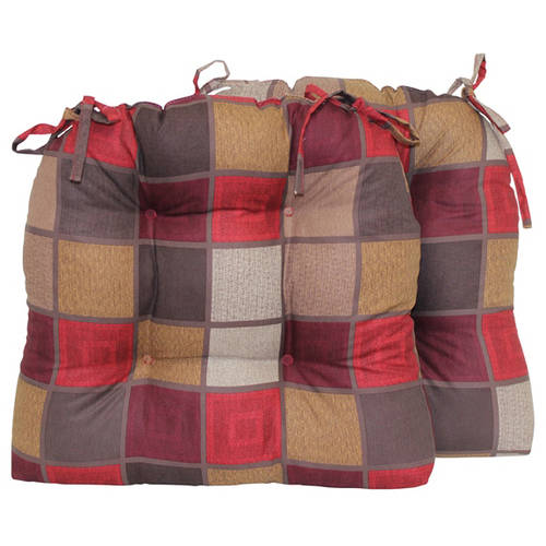 Mainstays Red Suede Blocks Chair Pad with Ties, Set of 2 by Brentwood Originals