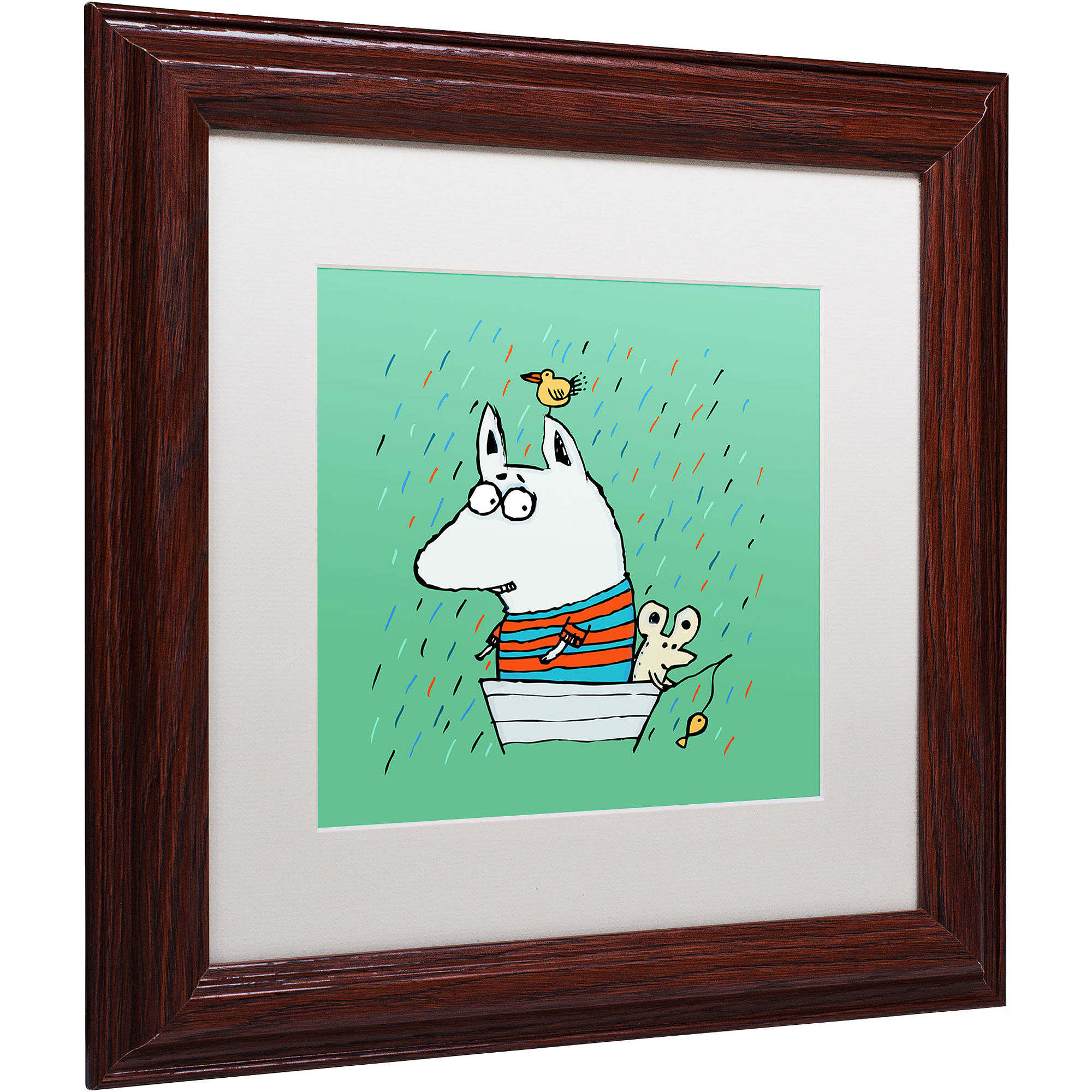 """Trademark Fine Art """"Lost at Sea"""" Canvas Art by Carla Martell, White Matte, Wood Frame"""