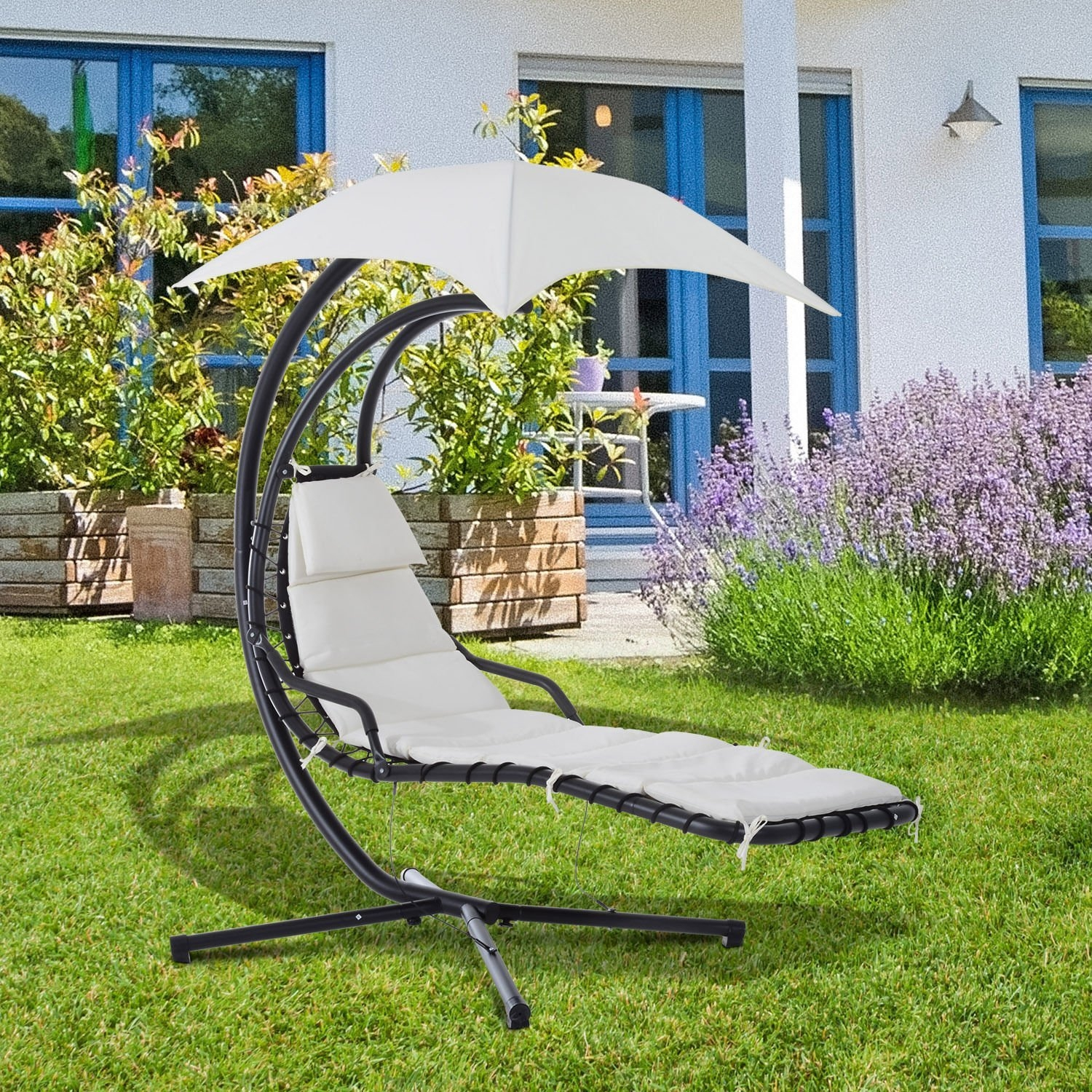 New MTN-G Hanging Chaise Lounger Swing Chair Arc Stand Ha...
