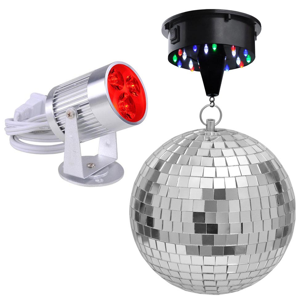 "Yescom 12"" Mirror Disco Ball + 6 RPM Rotating Motor + 3W 3 LEDs Pinspot Spotlight Kit Home"
