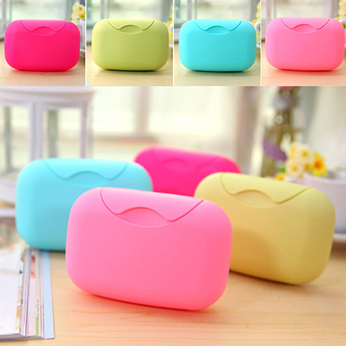 JP/_ Candy Color Bathroom Soap Dish Box Travel Storage Case Holder Container HS