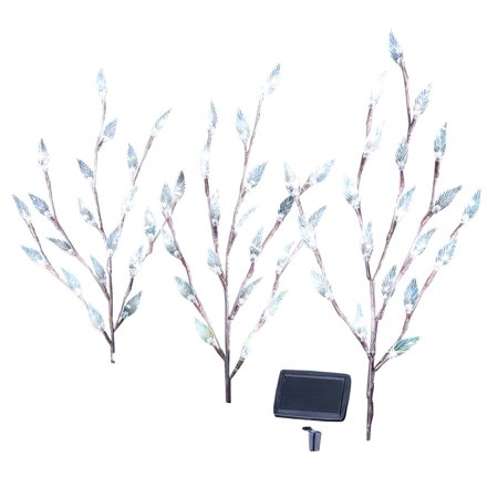 Bright Leaf Branch Solar Garden Lights with Adjustable Branches - Set of 3, Outdoor Decorative Accents, 60, White ()