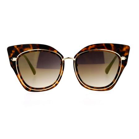 SA106 Flat Panel Mirror Lens Oversize Cat Eye Double Frame Womens Sunglasses Tortoise Brown (Sunglasses Brown Tortoise Frame)