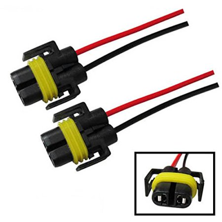 Headlight Socket - iJDMTOY (2) H11 H8 880 881 Female Adapter Wiring Harness Sockets Wire For Headlights or Fog Lights