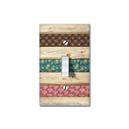 FINCIBO 1-Gang Toggle Wall Plate/Switch Plate Cover, Wood Vintage Floral ()