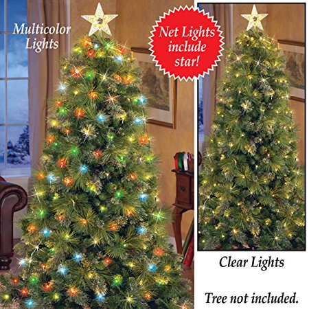 Lighted christmas tree net lights with star clear lights for 160 net christmas decoration lights clear