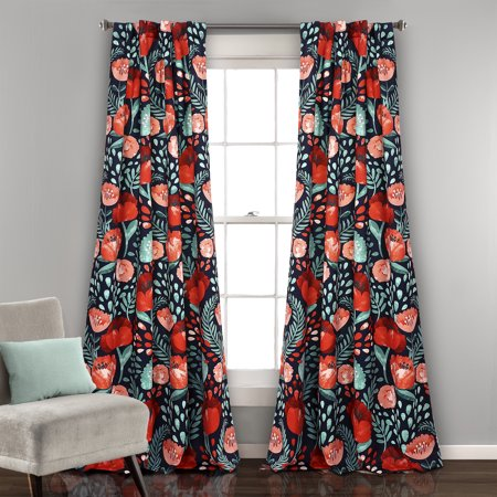 Poppy Garden Room Darkening Window Curtain Panels (Long Tall Poppies)