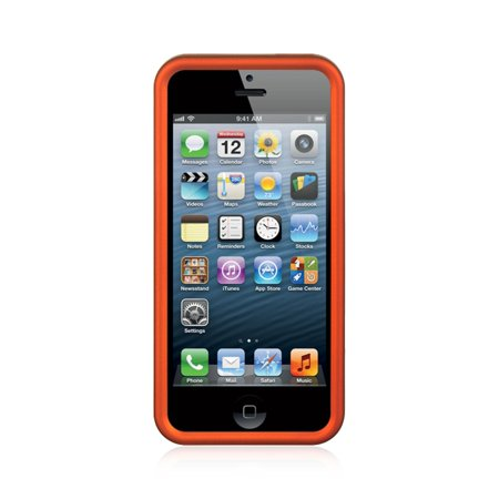 low priced fb1e4 aec90 Insten For Apple iPhone 5/5S/Se Orange Hard Rubber Case Cover