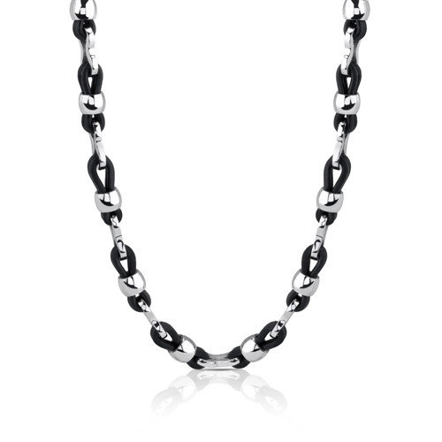 Oravo Cool and Casual Stainless Steel and Rubber Fancy Link Necklace for Men