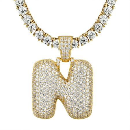 Topaz Bubble - Custom Bubble Letter N Pendant Gold Tone Simulated Diamond Tennis Chain 925 Silver