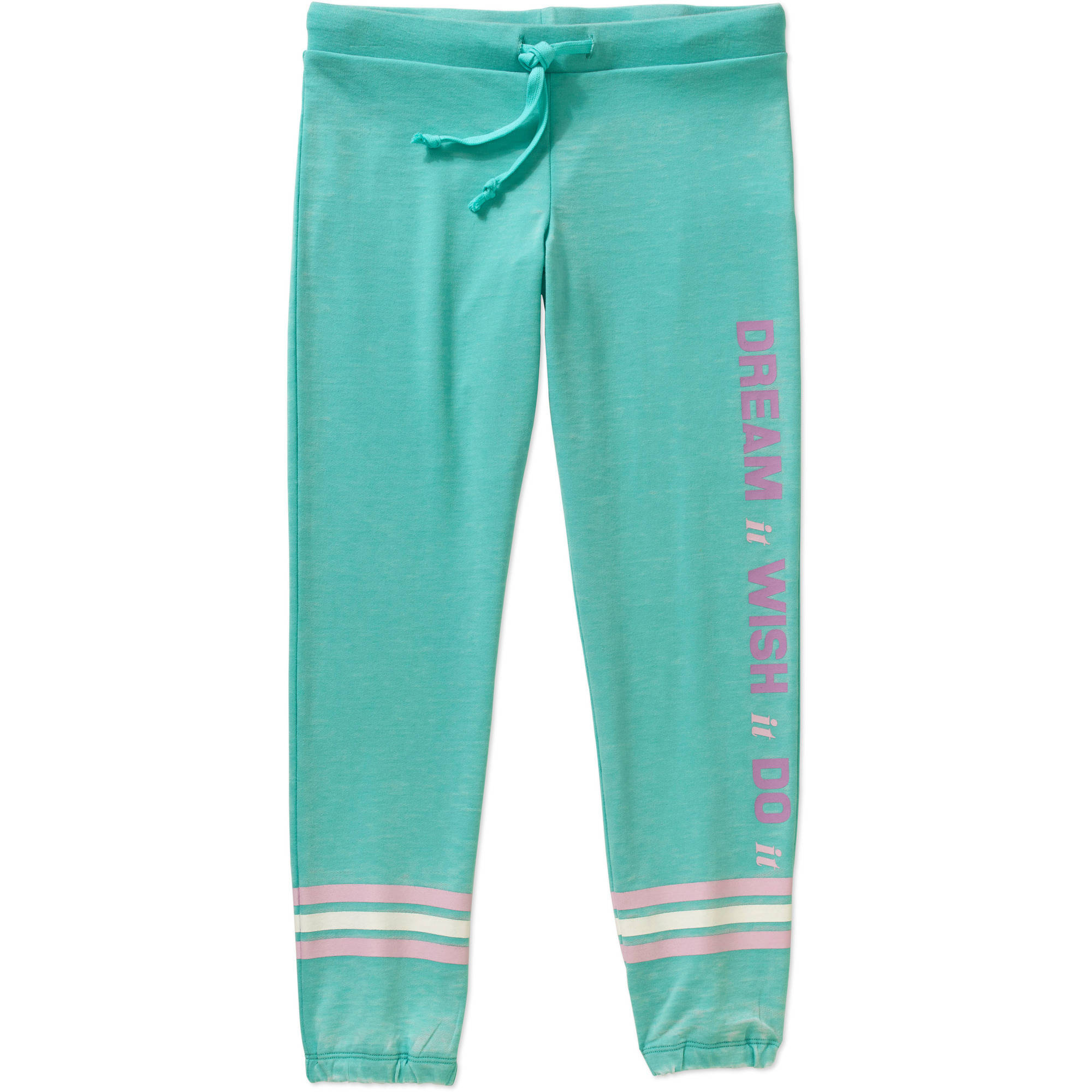 Gems And Jets Girls' Jogger Dream, Wish, Do Graphic French Terry Burnout Sweatpant