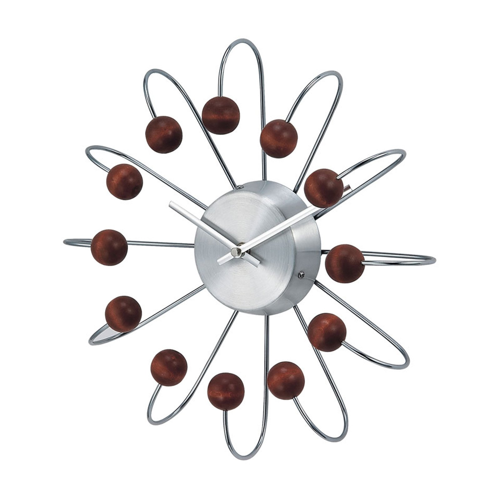 George Nelson Wooden Walnut Atomic 13 in. Wall Clock