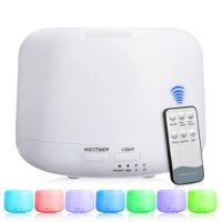300ML Ultrasonic Noiseless Remote Control Humidifier Aroma Diffuser Colourful LED Night Light