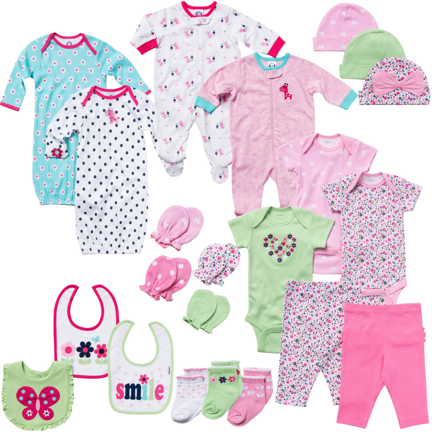 Gerber Newborn Baby Girl Perfect Baby Shower Gift Layette Set, Pink,  22-Piece