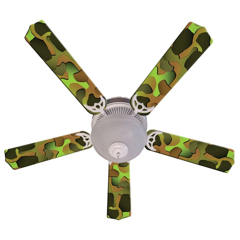 Ceiling Fan Designers Green Camouflage Print Blades 52in ...