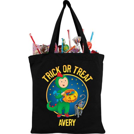 Personalized Caillou Dino Costume Black Trick or Treat Bag - Caillou Halloween Episode