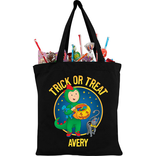 Personalized Caillou Dino Costume Black Trick or Treat Bag