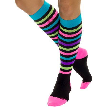 Compression Baseball Socks - LISH Nurse Compression Socks for Women  -  Graduated 15-25mmHG -  Sports Socks