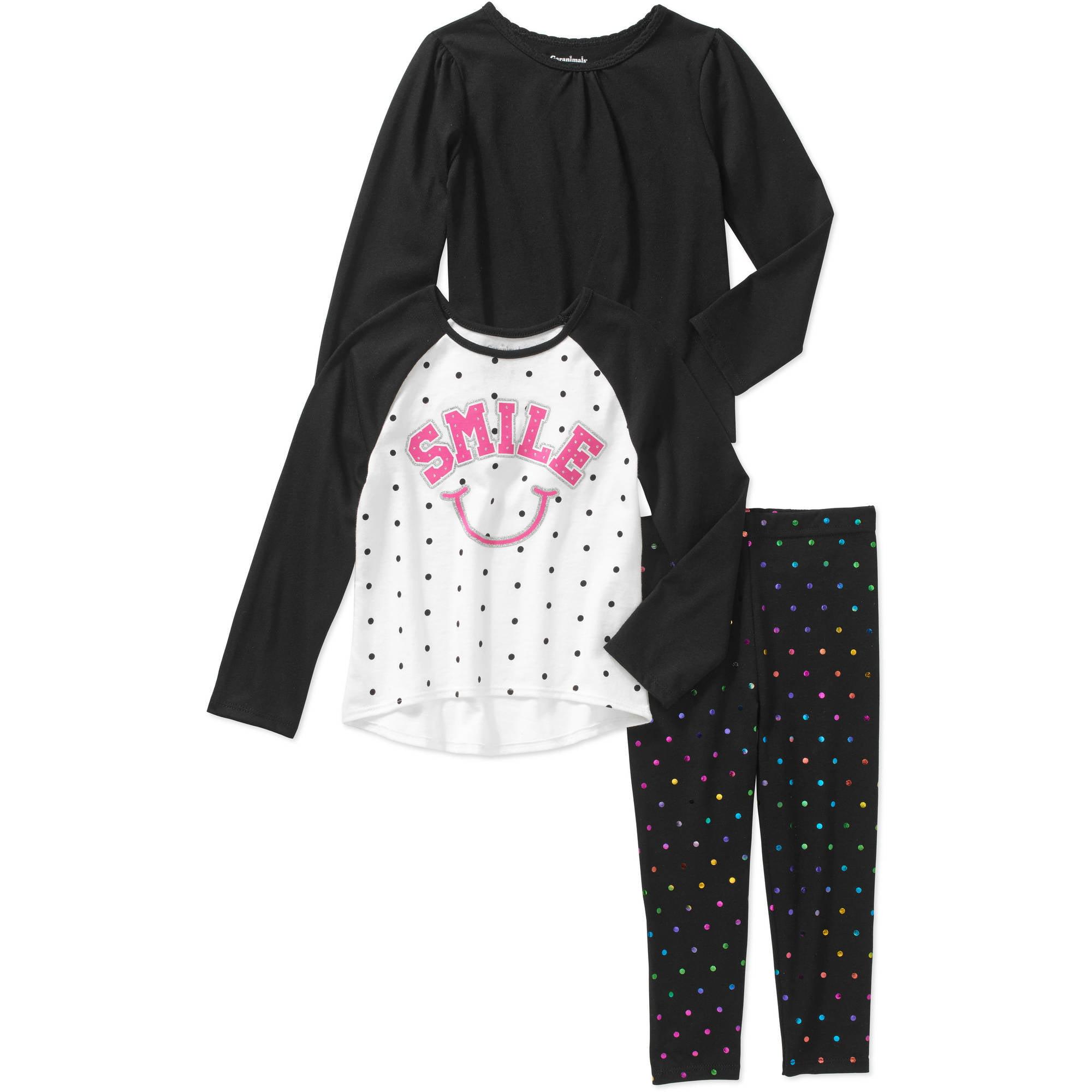 Garanimals Baby Toddler Girl 3 Piece Long Sleeve Solid Tee, Printed Tee and Printed Leggings Set