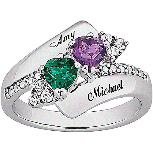 Personalized Couple's Crystal Heart Birthstone Name Ring in Sterling Silver